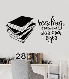 Vinyl Wall Decal Books Quote Reading Room Library Book Shop Stickers Unique Gift in X in / Black School Library Decor, Library Wall, Library Design, Elementary Library Decorations, Library Bulletin Boards, School Libraries, Reading Wall, Library Quotes, Library Book Displays