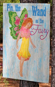 Games were everywhere in the forest. I made a Pin the Wand on the Fairy game that the girls enjoyed playing. They each got a pixie stick after their turn and the winner received her own bag of candies.