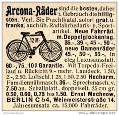 Original-Werbung/ Anzeige 1910 - ARCONA - FAHRRÄDER - MACHNOW BERLIN - ca. 45 x 45 mm