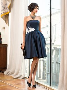 70c46772ef86511 A-Line Strapless Knee Length Satin Cocktail Party Dress with Appliques by  TS Couture®. Атласные ПлатьяВечерние ...