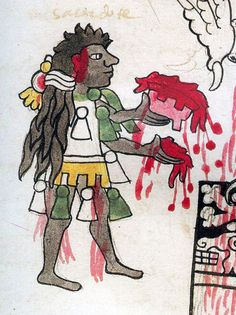 Codex Tudela     Aztec Mexica priest with hair matted with blood