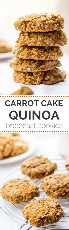 These AMAZING quinoa breakfast cookies taste just like carrot cake but are actually HEALTHY gluten-free vegan recipe onThese AMAZING quinoa breakfast cookies taste just like carrot cake but are actually HEALTHY gluten-free vegan recipe onsimpl Healthy Desayunos, Healthy Sweets, Healthy Cookies, Healthy Baking, Healthy Snacks, Quinoa Cookies, Vegan Baking, Cookies Vegan, Diet Snacks