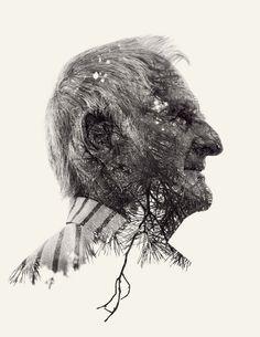 We Are Nature – Multiple Exposure Portraits Vol. II by Christoffer Relander, via Behance