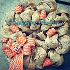 Fun new burlap wreaths! Available at A Shop Around the Corner, New Braunfels, TX
