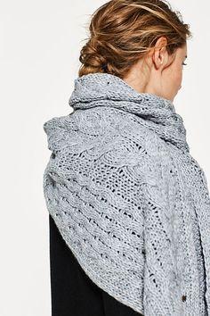 Écharpe à motif torsadé, laine et alpaga