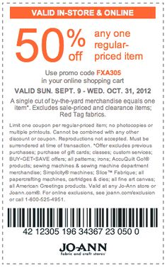 50% off coupon for Halloween at Joann's....good through 10/31/12