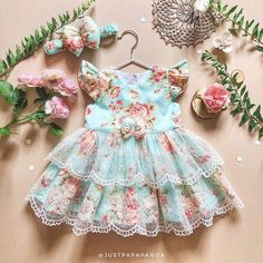 Retro dress of blue cotton with flower print and lace Baby   Etsy