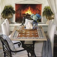 Italian Tile Dining Table - Onyx - Frontgate, Patio Furniture