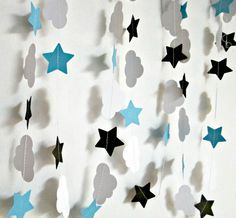The Fault in Our Stars Paper Party Garland, Clouds and Stars Garland, TFIOS Party Decoration, Photo Booth Backdrop, Photo Prop, Decoration