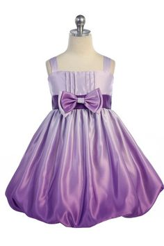Gorgeous Purple Ombre Print Satin Bubbled Hem Short Flower Girl Dress A3412-PP - Purple Flower Girl Dresses