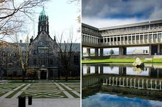 18 Beautiful University Campuses In Canada That Will Take Your Breath Away - Pictured here are Trinity College at the University of Toronto in Toronto, Ontario, and Simon Fraser University in Vancouver, British Columbia.
