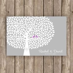 Wedding Guest Book Tree - Unique Guest Book Alternative - 300 Guest Signature Tree with Birds