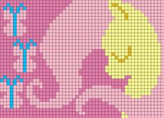 Graphghan idea: Fluttershy originally by: Megasweet by indidolph Pony Bead Patterns, Pearler Bead Patterns, Kandi Patterns, Alpha Patterns, Perler Patterns, Beading Patterns, Cross Stitch Patterns, Bracelet Patterns, Pixel Crochet
