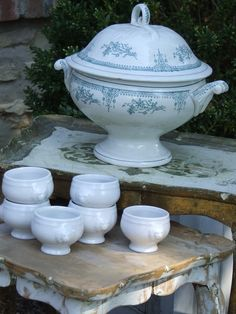 pretty french pottery. Would love to have this set of ironstone soup bowls and tureen.