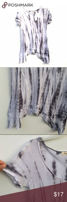 Tye Dye Asymmetric Tunic Soft and raw edge asymmetric tunic with raw edge detailing. White and gray tye dye print. Small cuffs at ends of sleeves. Scrapbook Tops Tunics