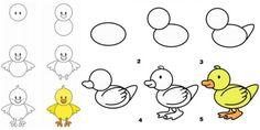 Zeichnen Sie Küken für das Osterfest oder den Bauernhof