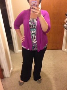 Plus Size Teacher Clothes Printed Top-Maurices Cardigan-Bergners Pants-Bergners Shoes-Maurices Clothing, Shoes & Jewelry - Women - Plus-Size - Wantdo - women big size clothes - http://amzn.to/2lfaYAF