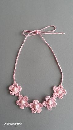 Diy Crafts - Beautiful and elegant necklace, it is handmade with cotton threads and pearls. The necklace you can use in different occasion: wedding on Crochet Butterfly Pattern, Crochet Necklace Pattern, Crochet Bracelet, Bead Crochet, Crochet Motif, Crochet Flowers, Crochet Earrings, Crochet Patterns, Neck Accessories