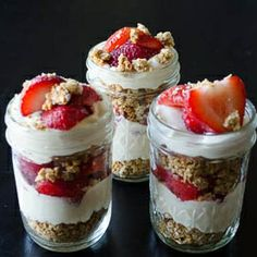 Cheesecake without the calories. Fresh berries, raw cheesecake filling, whole-wheat graham granola. Taste just like regular cheesecake!