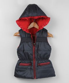 Black & Red Hooded Vest - Infant, Toddler & Girls #zulily #zulilyfinds