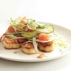 The crispness of cucumber and fennel is offset by tender scallops and chunks of juicy grapefruit.