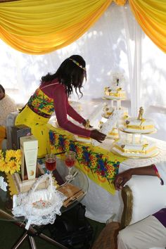 Tsonga traditional wedding in Giyani Traditional Wedding Decor, African Traditional Wedding, Traditional Dresses, Beach Wedding Centerpieces, Spring Wedding Decorations, Wedding Ideas, Simple Beach Wedding, Rustic Wedding Flowers, Dream Wedding