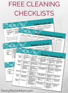 Free Cleaning Checklists -- to keep your house organized and cleaned. Tips on Daily, Weekly, Monthly and Annual Cleaning routines! Challenge your life with organization. Daily Cleaning Checklist, Deep Cleaning Tips, House Cleaning Tips, Diy Cleaning Products, Cleaning Solutions, Cleaning Hacks, Cleaning Routines, Cleaning Lists, Home Cleaning Schedule Printable