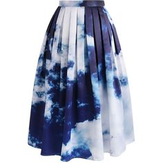 Chicwish Live Out Cloud Midi Skirt ($49) ❤ liked on Polyvore featuring skirts, bottoms, saias, faldas, blue, blue midi skirt, calf length skirts, print skirt, chicwish skirt and blue slip