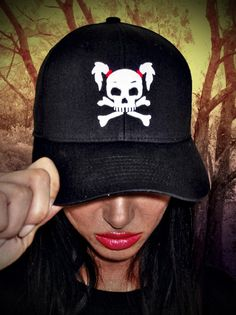 """-Special """"puff"""" embroidery of our pigtailed """"Love Demon"""" gives this hat a cool 3D look! Only $29.95"""