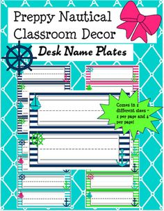 These super cute name plates are part of a Preppy Nautical Classroom Decor Set I have created for the upcoming school year! The product includes 4 different colors (hot pink, teal, lime green, and navy) as well as 2 different name plate sizes (2 per page and 4 per page).