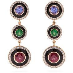 Selim Mouzannar Diamond, multi-stone & pink-gold Mina earrings ($11,354) ❤ liked on Polyvore featuring selim mouzannar
