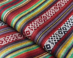 South American Fabric, Peruvian Fabric, Woven, Multi Cruza Stripes, 1 Yard