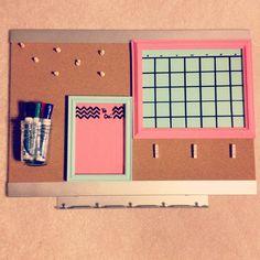 DIY college dorm room bulletin board using old picture frames. #diy #calendar #todo #dryerase #college #dorm