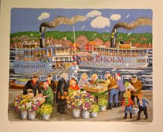 Bert Håge Häverö - Litografi - Vaxholm I marknaden Beställ här! Naive, Dolores Park, Painting, Travel, Art, Pictures, Art Background, Viajes, Painting Art