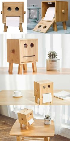 Bamboo Wooden Smiley Smiling Face Tissue Box Paper Towel Box Toilet Paper Towel Box Storage