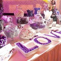 """Photo of Adrienne Bowen Events - """"Purple Candy Table"""" - Rancho Cucamonga, CA Purple Candy Buffet, Candy Buffet Tables, Dessert Buffet, Purple Party, Purple Wedding, Our Wedding, Dream Wedding, Wedding Ideas, Wedding Candy Table"""
