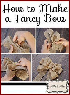 PERFECT Burlap Bow Tutorial I had no idea how to make bows before this. Super clear, step-by-step directions and pictures.Welcome to Ideas of Simply Sweet DIY Burlap Bow article. In this post, you'll enjoy a picture of Simply Sweet DIY Burlap Bow des Holiday Crafts, Fun Crafts, Christmas Crafts, Diy And Crafts, Arts And Crafts, Christmas Bows, Holiday Decor, Fall Decor, Burlap Christmas Decorations