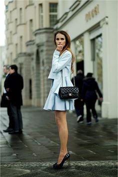Pastel blue skirt ensemble + classic Chanel bag + sky-high black pumps Street Style #Fashion #chic