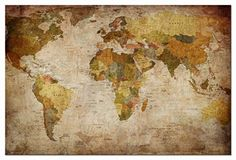 Wieco Art  World Map Large Modern Stretched and Framed Giclee Canvas Prints Artwork Brown Abstract Seascape Pictures Paintings on Canvas Wall Art for Living Room Bedroom Home Decorations MAP_6090 -- Visit the image link more details. Note:It is affiliate link to Amazon.