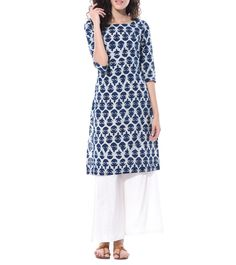 Blue Cotton Printed Tunic #Indianfusionwear #cotton #prints #dresses #tunics