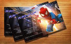 Lego Spiderman Birthday Party Invitation Kids