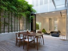 Looking to add some greenery to a modern outdoor room? Ong & Ong Architecture proves that bamboo is the answer. Patio Design, Exterior Design, Interior And Exterior, House Design, Architecture Durable, Interior Architecture, Unique Architecture, Outdoor Rooms, Outdoor Living