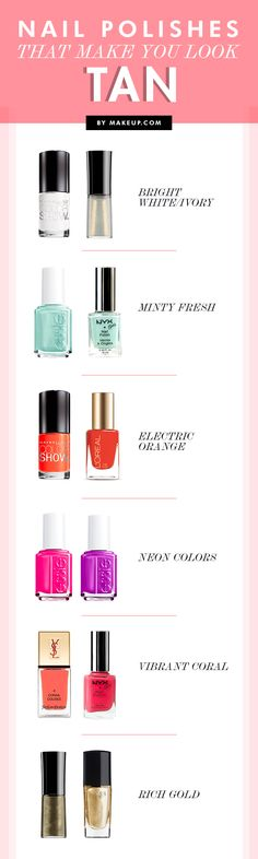 Pale winter skin got ya down? Here are some nail polish colors that will make you look tan! Read on for the full list.