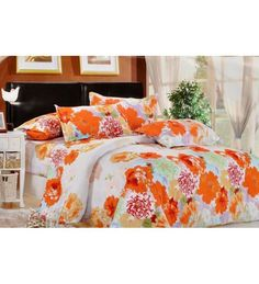 Buy Valtellina Elegant Orange Floral Art Print Double Bed Sheet Set Online: Shop from wide range of Nature and Florals Bed Sheets Online in India at best prices. Double Duvet Set, Double Bed Sheets, Bed Sheet Sets, Nursery Bedding Sets Girl, Bed Sheets Online, Hotel Collection Bedding, King Sheets, Luxury Bedding Sets, House Beds