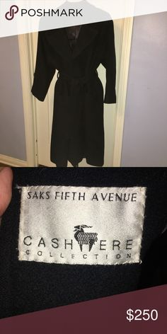 Saks Fifth Ave Silk lined Cashmere Trenchcoat This fabulous trench has 2 square front pockets. It is a Size 2 but comfortably fits a Size 4 as well. Saks Fifth Avenue Jackets & Coats Trench Coats
