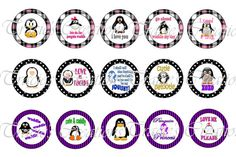 Cute Penguin Digital Bottle Cap Images  1 by TraciesCreations, $1.75