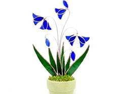 Stained Glass 3d Cobalt Blue Bells, Glass Flowers in Full Bloom, Made in USA, Garden Decor, Holiday Gift for Mom, Christmas Gift