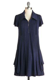 Fresh Flow Dress. If youre looking for a fresh take on casual, this heathered-navy, flowing frock by Kensie is surely the one for you. #blue #modcloth Good work dress for those What to wear days.