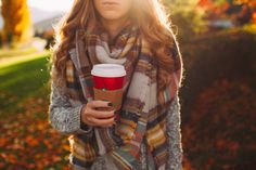 Autumn Leaves: Chunky Sweater and Plaid Scarf - Twenties Girl Style
