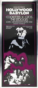 Original 'Hollywood Babylon' poster announcing the Cockettes, the GTO's and The Stooges at the Hollywood Palladium, July 16 (1970).